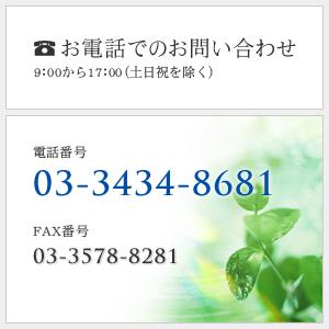 電話でのお問い合わせ 9:00から17:00(土日祝を除く)tel 03-3434-8681 fax 03-3538-8281
